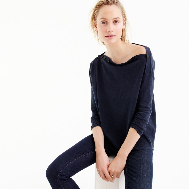 Button boatneck sweater