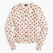 Jackie cardigan sweater in sequin polka dot - DUSTY RUBY
