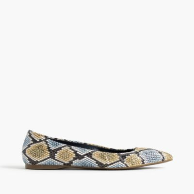Lottie flats in snakeskin-printed leather