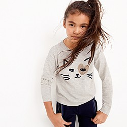 Girls' kitty love popover sweater