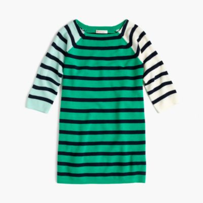 Girls' mixed-stripe sweater dress