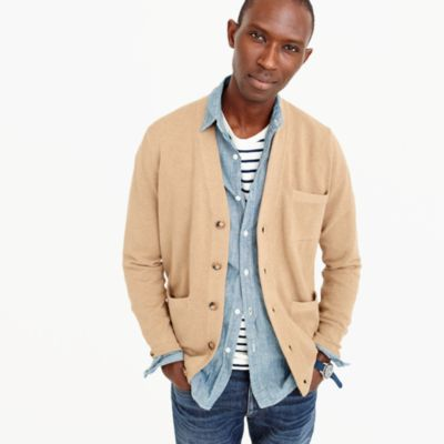 Cotton-cashmere piqué cardigan sweater