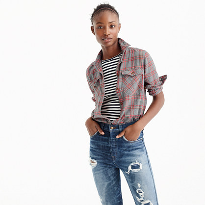 Tall Boyfriend shirt in pewter plaid