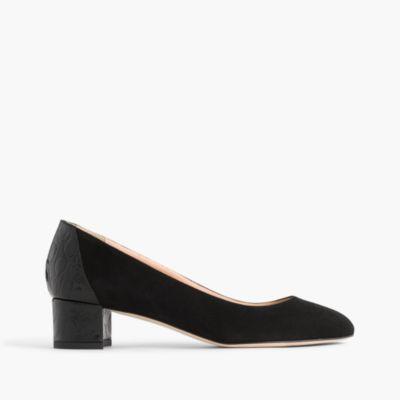 Suede pumps with stamped croc heel