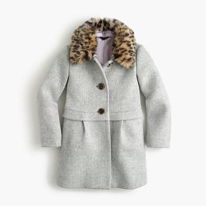 Girls' leopard-collar coat