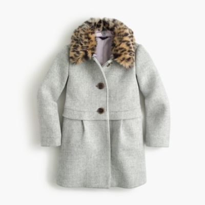 Girls' leopard-collar coat