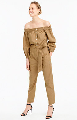 Off-the-shoulder khaki jumpsuit