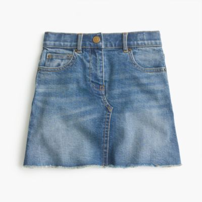 Girls' reconstructed denim skirt