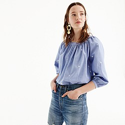 Petite perfect top with embroidery