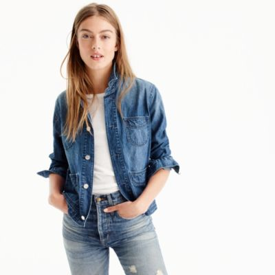 Denim chore jacket with patch pockets