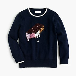 Girls' sequin ice cream sandwich sweater