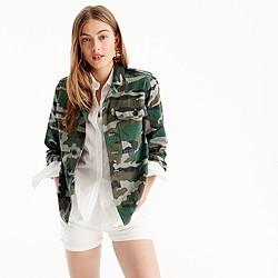 Petite camouflage utility shirt-jacket