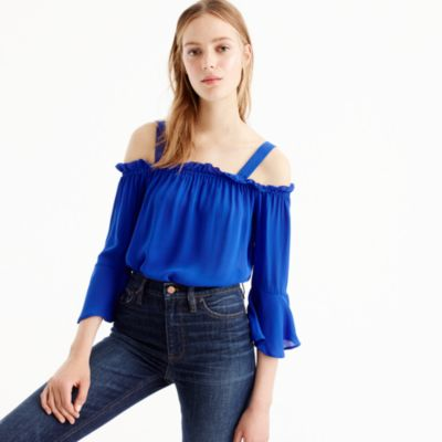 Petite cold-shoulder top with bell sleeves