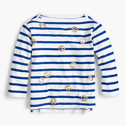 Girls' striped emoji T-shirt