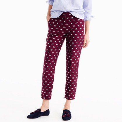 Cropped pant in terrier jacquard