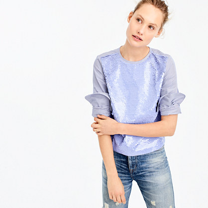 Collection sequin striped top