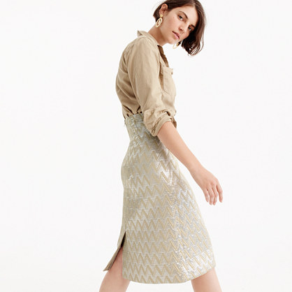 Collection pencil skirt in metallic jacquard