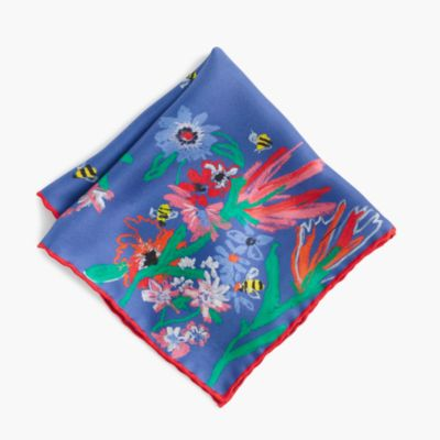 J.Crew for the Xerces Society Save the Bees Italian silk pocket square
