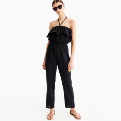 Linen ruffle jumpsuit