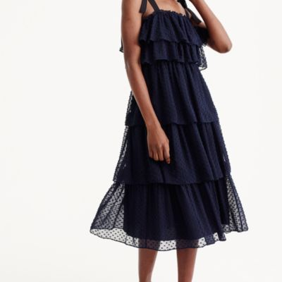 Tiered tie-shoulder dress in clip-dot