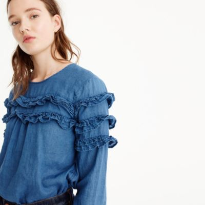 Petite tiered top in chambray