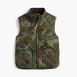 Boys' Sussex quilted vest in camo