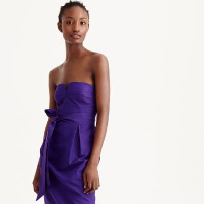 Tall tie-waist strapless dress in faille