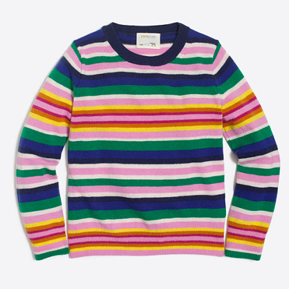 Girls' rainbow stripe sweater