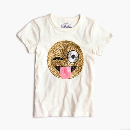 Girls' winking emoji T-shirt