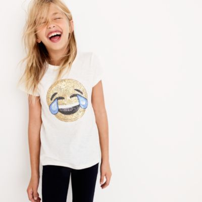 Girls' laughing emoji T-shirt