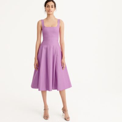 Tall pleated A-line dress in faille