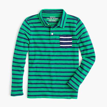 Boys' long-sleeve mixed-stripe polo shirt