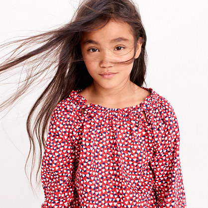 Girls' smocked-neck top in hearts