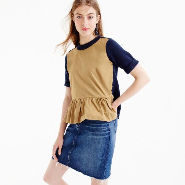 Colorblock peplum sweater