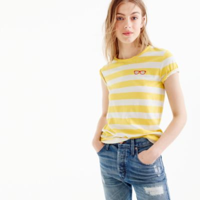 Striped embroidered sunglasses T-shirt