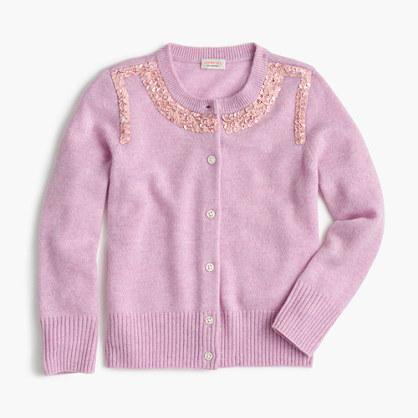 Girls' sequin-collar cardigan sweater