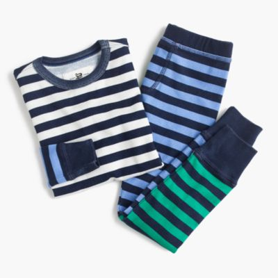 Kids' pajama set in colorblocked stripes