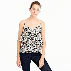 Petite silk ruffle cami in leopard print