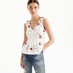 Petite hand-embellished floral top