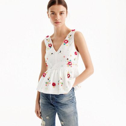 Hand-embellished floral top