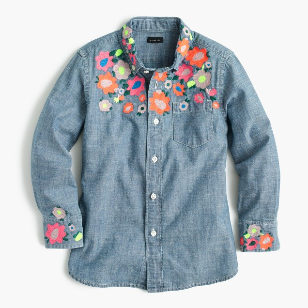 Girls' limited-edition floral embroidered chambray shirt