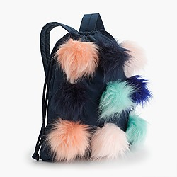 Girls' drawstring backpack with furry pom-poms