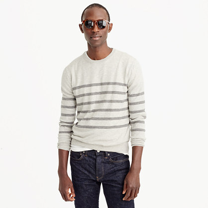 Wool-cotton crewneck sweater in stripe
