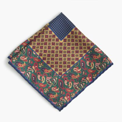 Silk pocket square in mixed patterns