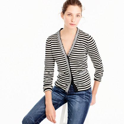 Striped Harlow cardigan sweater with tweed trim