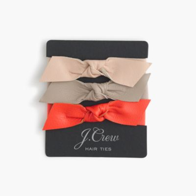 Leather bow hair ties