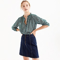 Petite ruffle popover in gingham