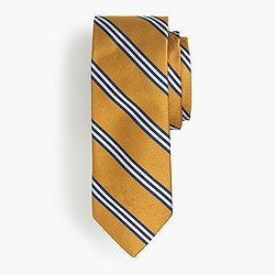 Silk tie in yellow wide stripe