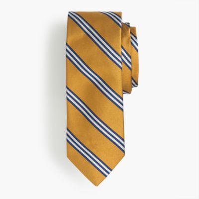 Silk tie in yellow wide stripe