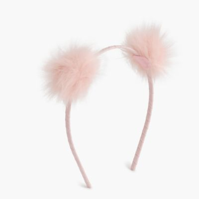Girls' furry pom-pom headband